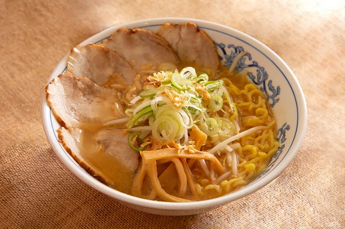 miso-flavored ramen topped with extra pork