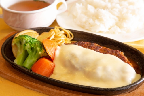 Cheese hamburger steak set